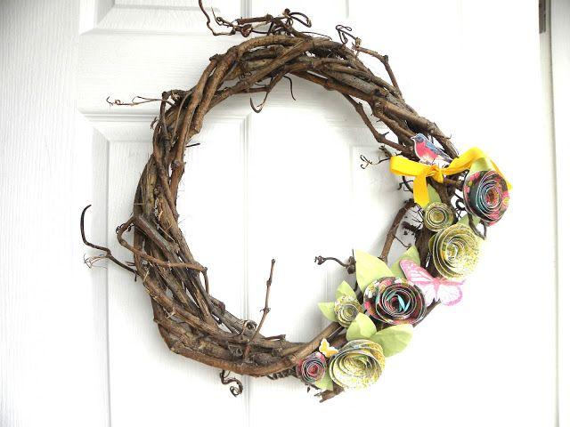 Decoración: Corona Primaveral para la Puerta por Johana