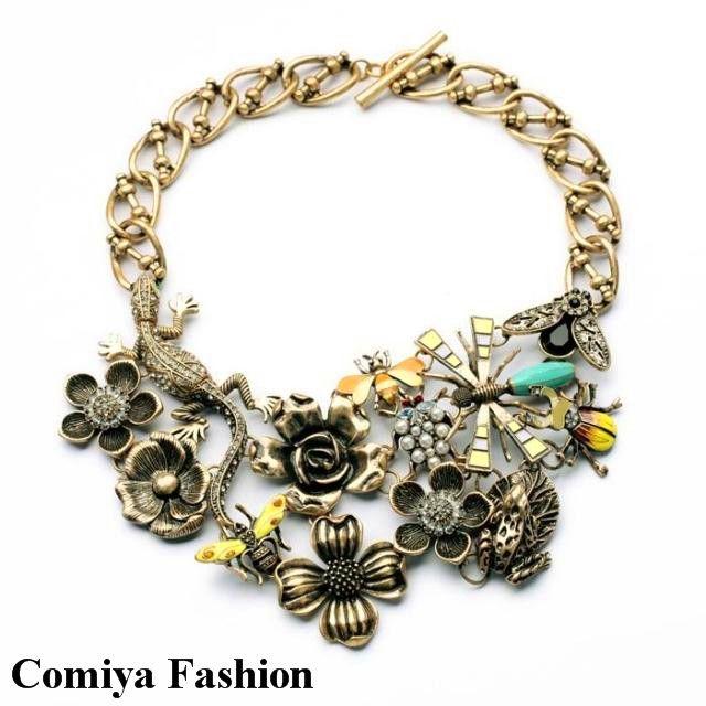 Comiya украшения старинные золотые цепи перл насекомые продажа крупными цветами новый 2015 заявление ожерелье ожерелья подвески для женщин аксессуарыкупить в магазине Qingdao Comiya Fashion Jewelry Co., Ltd.наAliExpress
