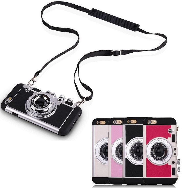 Retro 3D Camera Design Back Cover Case With Long Strap Rope For iPhone 7 7 Plus 6 6S Plus 5S SE 5