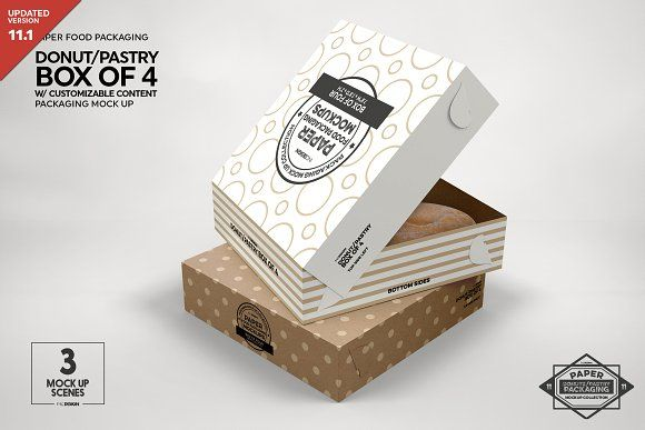 Download Box Of Four Donut Pastry Box Mockup Free Packaging Mockup Box Mockup Design Mockup Free