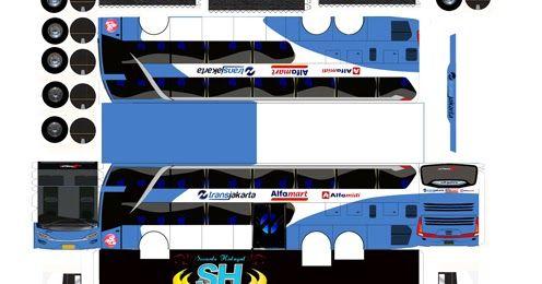 pola papercaraft bus trans jakarta double decker FREE     download pola resolusi tinggi disini