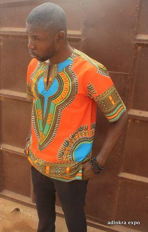 Men's Dashiki Shirt Round neck/ dress shirt/ dashiki shirt /ankara shirt/ ankara top by AdinkraExpo on Etsy