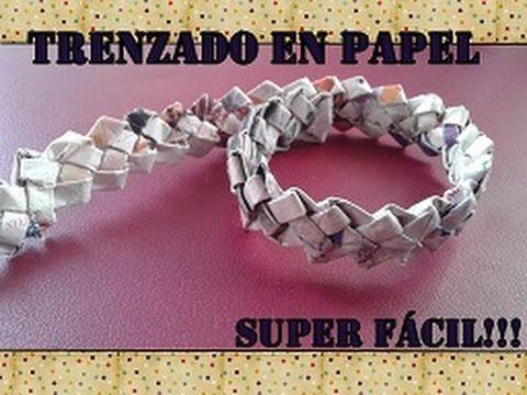 TRENZADO EN PAPEL ¡¡¡ SUPER FÁCIL!!!/Paper basket weaving - YouTube