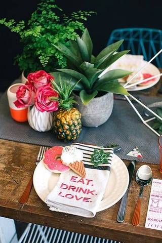 Summer Table Decorating Ideas bare table with gray runner and pineapple