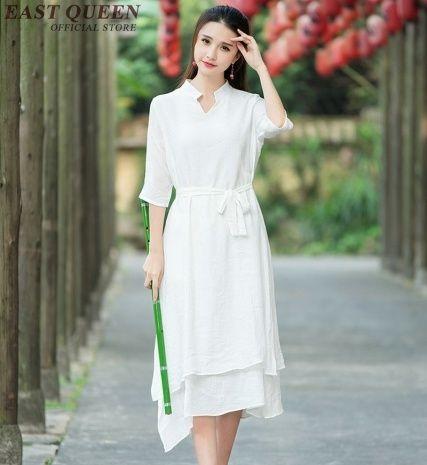Ladies White Linen Dress