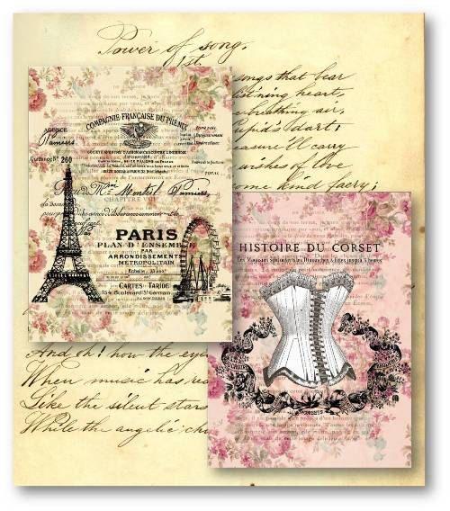 Digital Scrapbook Paper Pack Vintage French Paris Eiffel
