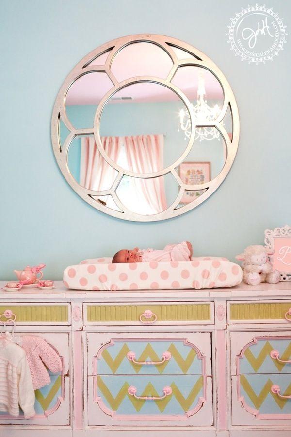 Baby girl nursery changing table - mirror homegoods.