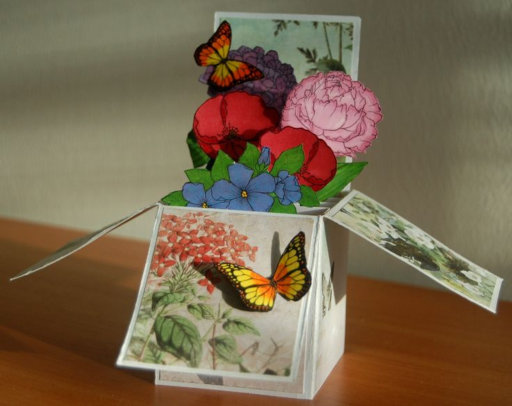 Flowery card in a box for mother's day with some butterflies