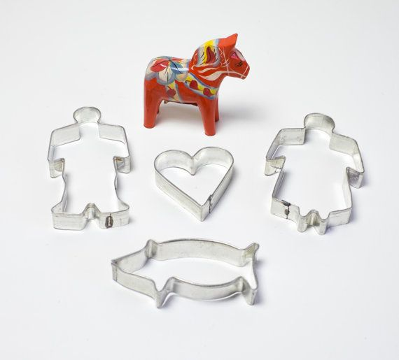 Scandinavian Christmas Cookie Cutters Vintage Cookie Cutter Set 4 Traditional Swedish Gingerbread Man & Woman Heart Pig Xmas Holiday Baking