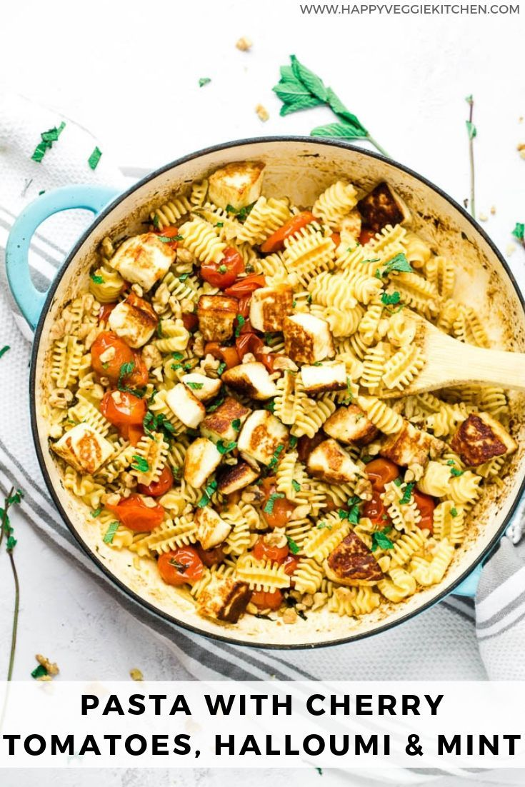This Halloumi Pasta Recipe Is A Total Delight With Little Effort And Very Few Ingredients You Can Cherry Tomato Pasta Halloumi Pasta Vegetarian Recipes Lunch