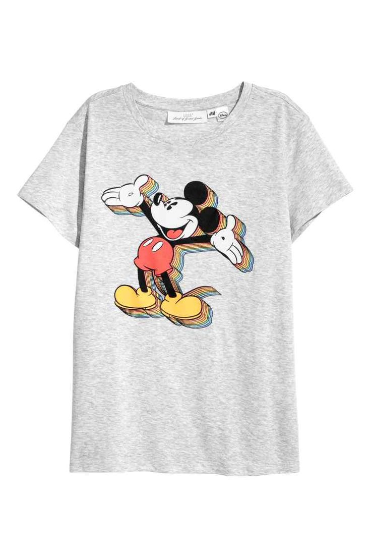 T-shirt avec impression - Gris chiné/Mickey - FEMME | H&M BE
