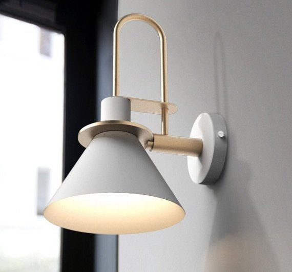 Beautiful And Elegant Combination Of White Aluminium And Gold Inspired By Scandinavian Design A Great Way To Br Wall Lights Metal Wall Light Wall Lamp Design