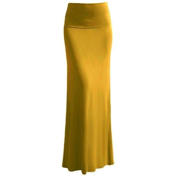 High Quality Solid Flared Maxi Long Skirt (Large, Mustard) at Amazon... ($20) ❤ liked on Polyvore featuring skirts, yellow skirt, yellow maxi skirt, flared hem skirt, maxi skirt and flare skirt
