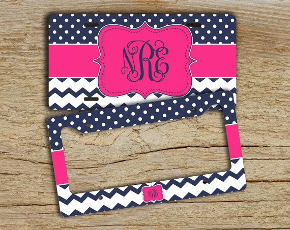 Personalized front license plate or frame chevron car tag - Hot pink navy blue dots chevron - auto accessory bike license plate (1274)