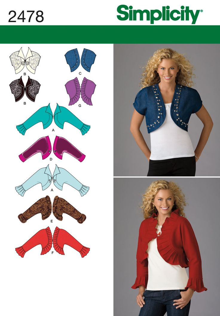 Simplicity : 2478 The short jacket would be great over a dress for church (without the rhinestones.) :)