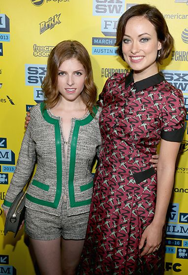 Anna Kendrick (in Marissa Webb) and Olivia Wilde (in L'Wren Scott) hit up the premiere of their new movie, Drinking Buddies, at the SXSW Film Festival in Austin, Texas, March 9.
