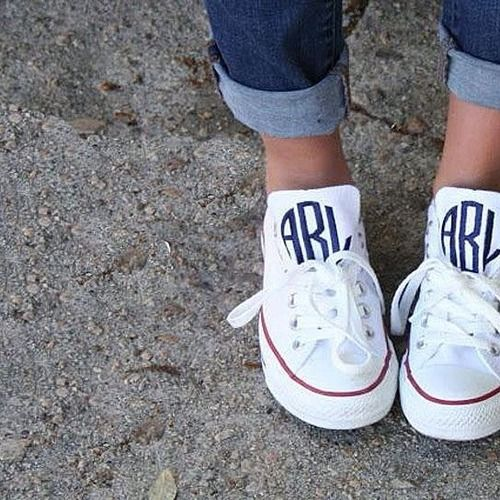 kinda thinking these monogrammed chucks would be cute with a denim skirt and button up combo this summer. yes please!