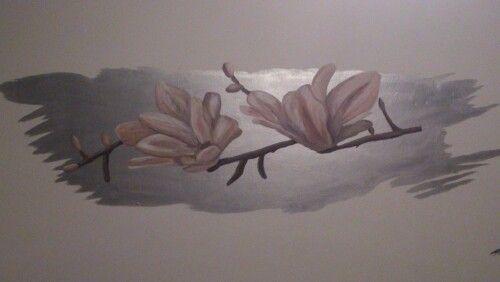 Muurschildering Magnolia