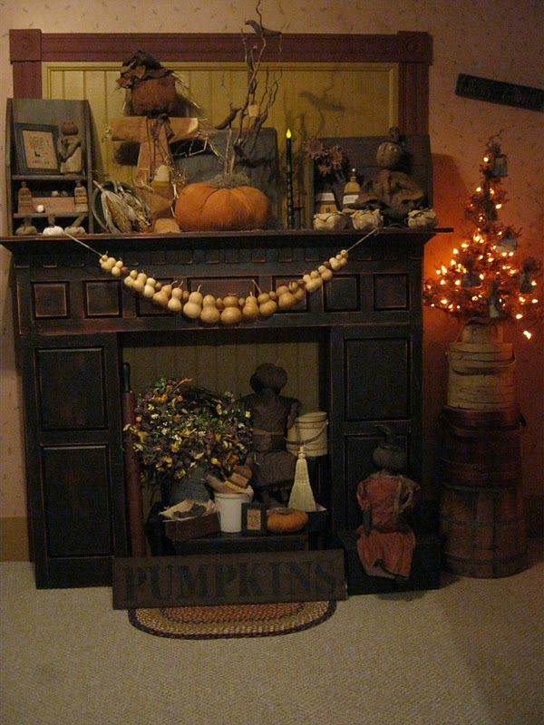 Wall Colour Inspiration: Deppenhomestead1862...Fall Mantle, Love The Gourds, Could