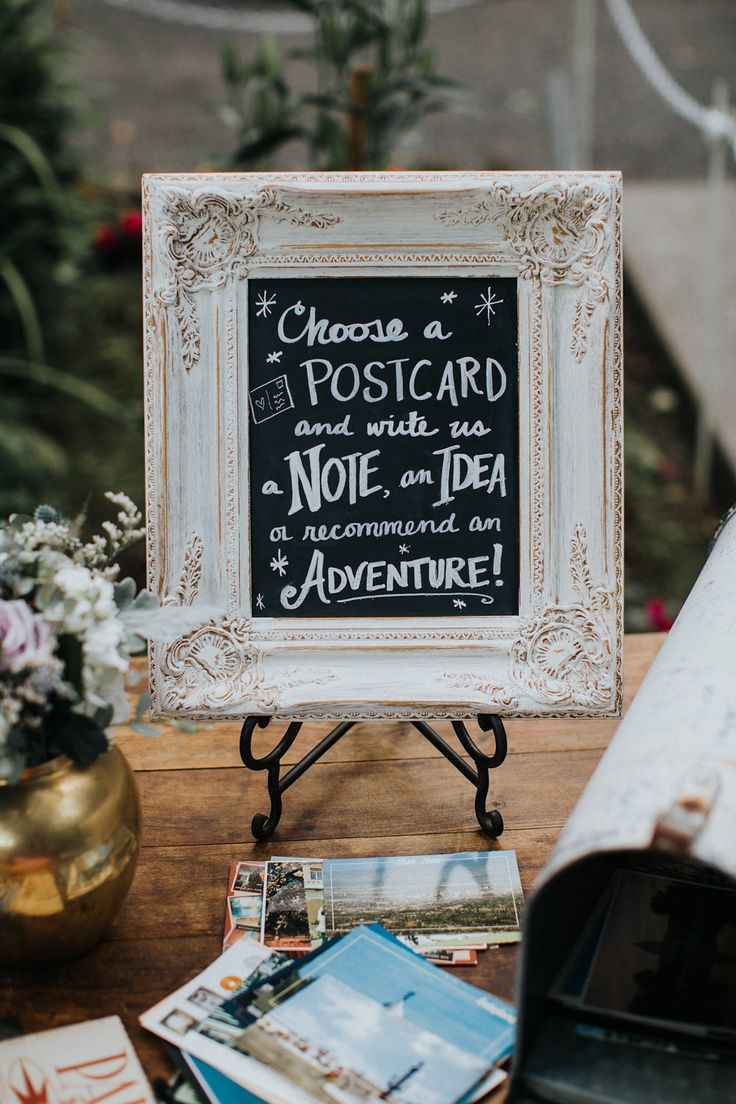 Yes to this for the guestbook. We can collect postcards over the next few months, have guests sign them, and bind everything into a book after the wedding.