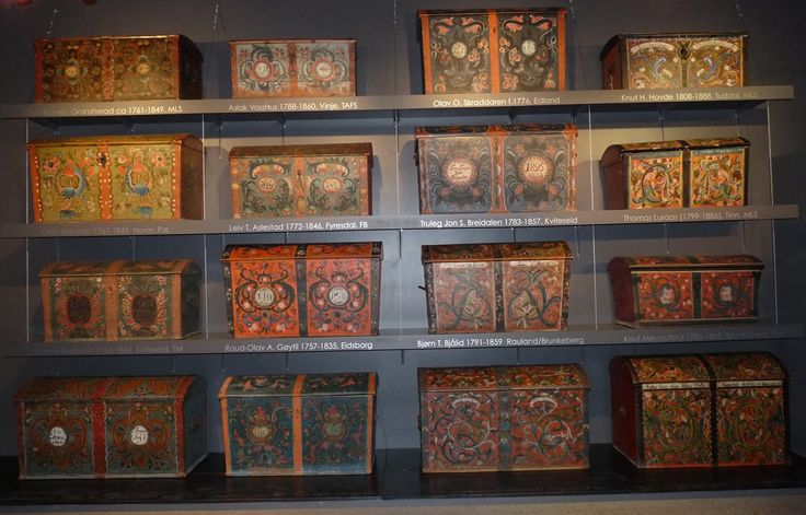 Old rose painted chests from different places in Telemark county at Vest-Telemark Museum in Eidsborg, Norway - This image belongs to THE ESSENCE OF THE GOOD LIFE™ - https://www.facebook.com/pages/The-Essence-of-the-Good-Life/367136923392157