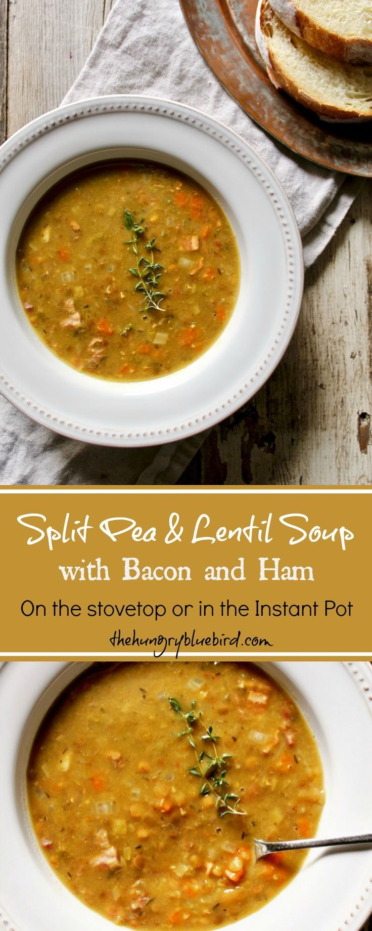 Comforting cool weather soup with split peas, lentils, bacon and ham. Easy to make on the stovetop or in the pressure cooker.