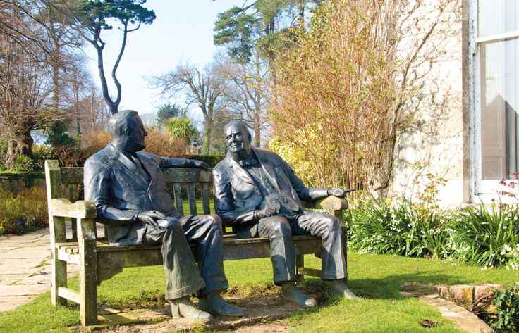 Churchill & Roosevelt statue, Priory Bay Hotel grounds, Seaview, Isle of Wight