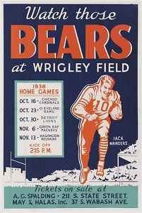 chicago 1938 | 1938 Chicago Bears Schedule Poster 1 Sht Jack Manders | eBay