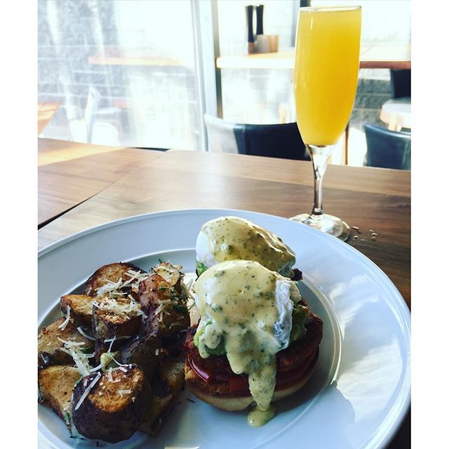 Good morning from SWB with one of our favorites! The southwestern eggs Benedict; homemade biscuit, chorizo, guacamole, poached eggs with green chili hollandaise. :egg::fork_and_knife:#breakfast #hyattscottsdale #swb #vacation #instafood #mimosa