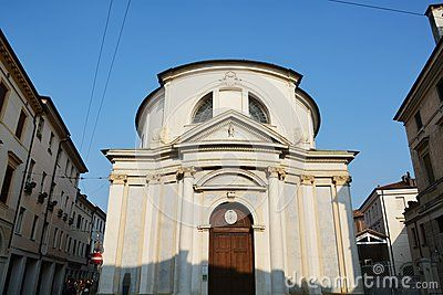 A beautiful white church in the centre of a great city, between historical buildings in Treviso, north Italy, Europe.