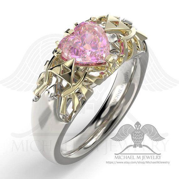 Legend Hyrule Crest Herz rosa.925 oder 14 k von MichaelMJewelry