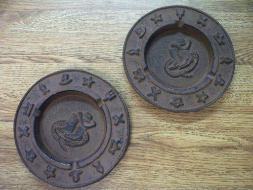 """Pair of Cast Iron Ashtrays Western or Southwestern Decor by tex gen. $11.59. Western decor with Brand marks around the edge. Heavy Cast Iron Ashtrays. Great primitive southwest art decor. Protective brown patina. Attractive and cute cast iron ashtrays. 2 pc set. The measure about 5 1/2"""" across and stand about 1/2"""" tall. Wonderful primitive accent and not just for cigarettes. Can be used for paper clips, nuts, change holders, toothpicks, etc."""