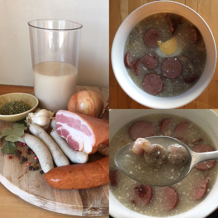 Polish sour soup Źurek with white and smoked sausage, bacon, spices and special ingredient zakwas