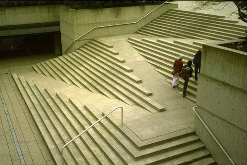 redhousecanada:  Stramps at the Vancouver Law Courts by Arthur Erickson. define-space: Ireally admire the design for these stairs and how they incorporate a wheelchair access ramp. in a world were barrier free design is essential to living a full and happy life, its amazing to see landscape architect Cornelia Oberlander has taken literal steps to design stairs AROUND a ramp, instead of the other way around.