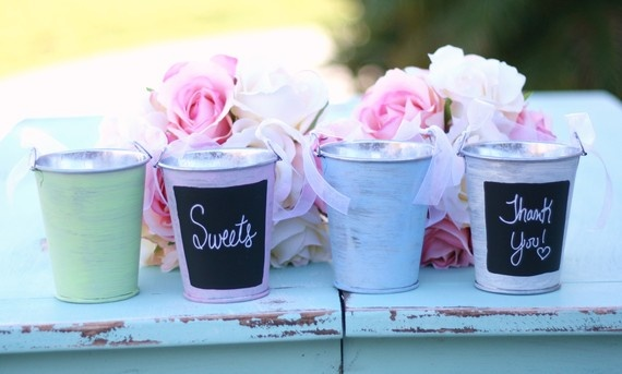 "Petite Metal Tins for Beach Favors: ""Chalkboard"" White Tin Pail (Set of 12) Sale Price: $1.06 (15% off)  http://favorcouture.theaspenshops.com/Chalkboard-White-Tin-Pail.html"