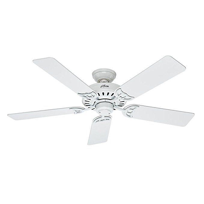 Hunter 53039 Summer Breeze 52 Inch Ceiling Fan With Five Blades White Ceiling Fan White Ceiling Fan 52 Inch Ceiling Fan