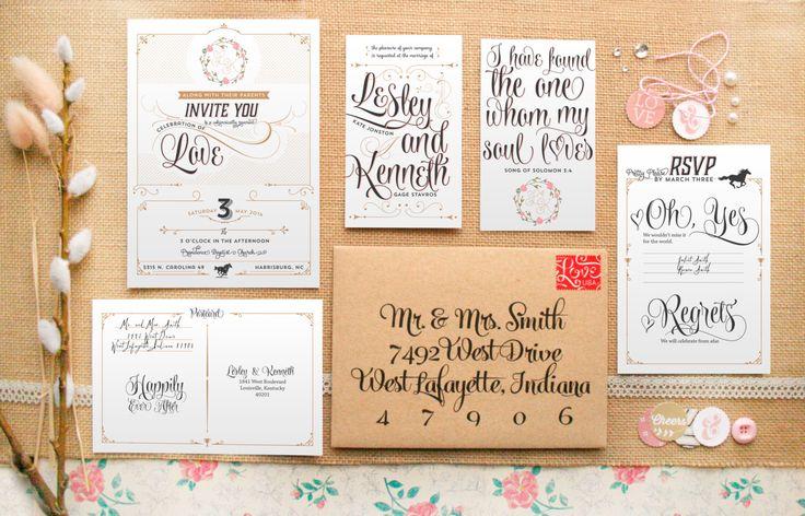 Romantic & Rustic Wedding Invitations - Kentucky Derby Wedding Invites - Printable DIY Layered Invitations - Felicity by PaperPeachShop on Etsy https://www.etsy.com/listing/179359740/romantic-rustic-wedding-invitations