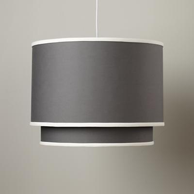 Kids Lighting: Grey Double Pendant Fabric Ceiling Light in Ceiling Fixtures