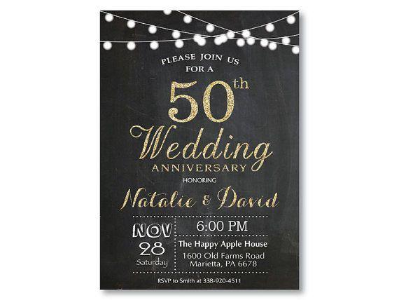 50th Wedding Anniversary Invitation. Gold by happyappleprinting