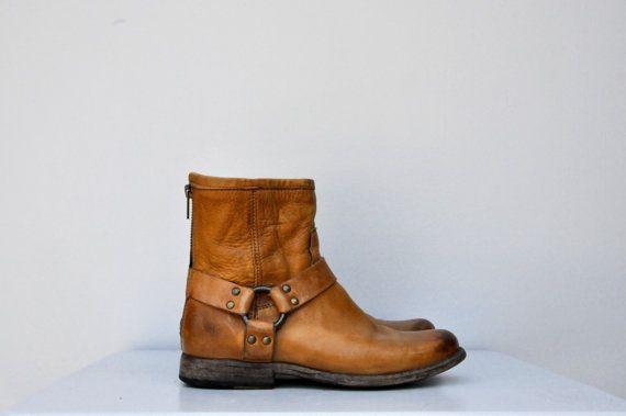 Ceinturée de FRYE harnais en cuir marron bottes par ItaLaVintage