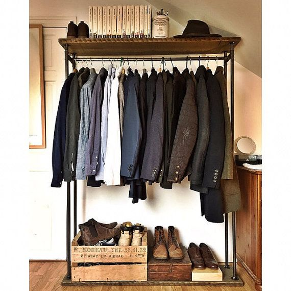 Industrial Clothes Rail.  This clothing rail has a great industrial look and simple stylish storage solution for hanging clothes and hats; displaying