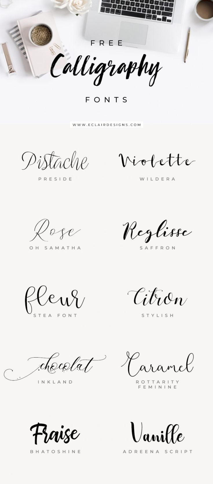 Eclair Designs 10 Free Calligraphy Fonts Free Calligraphy Fonts Lettering Typography Fonts