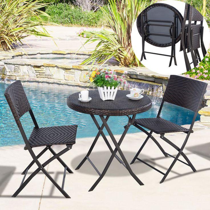3PC Patio Rattan Furniture Set Outdoor Backyard Dining Foldable Table U0026 2  Chairs