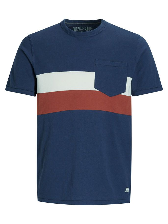 Every wardrobe needs authentic tees - Relaxed slim fit tee with colour-block details in blue, white and red, with a chest pocket | JACK & JONES #vintage #style #men