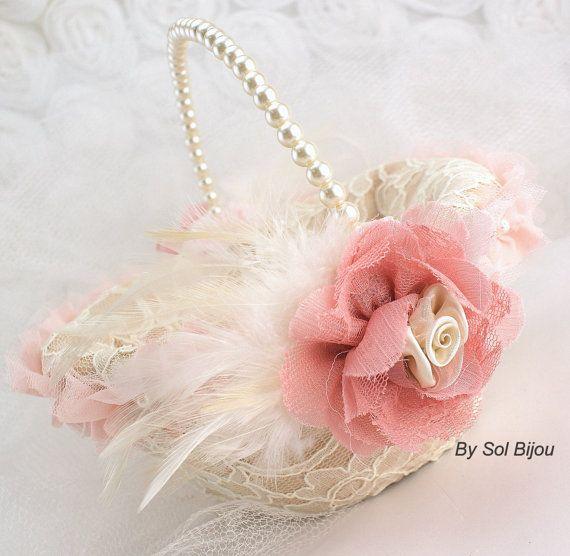 ivory lace over rose petal | Flower Girl Basket - Lace Bridal Basket in Ivory, Blush, Dusty Rose ...