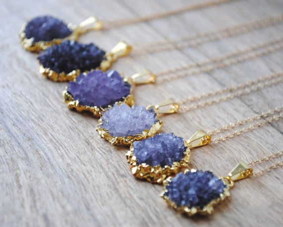 Bridesmaids gifts. Gold Amethyst Flower Cluster Necklace Amethyst by SongYeeDesigns, $66.00