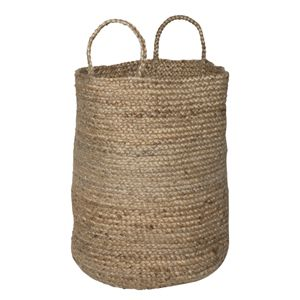 Grand panier en jute naturelle tressée, qui pourra faire office de panier à linge dans votre salle de bains, de panier à bûches