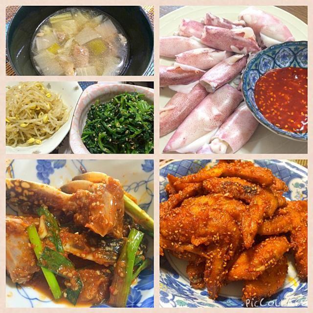 妻が作った韓国風の夕食 ・ヤムニョン・ケジャン(渡り蟹の薬味漬) ・ヤムニョン・チキン(辛味の鶏手羽先の唐揚) ・牛スジと大根のスープ ・小さなヤリイカと酢味噌(味噌はコッチュジャンケジャン) など - 185件のもぐもぐ - ヤムニョン・ケジャン(渡り蟹の薬味漬)など韓国風の夕食 by juneshun