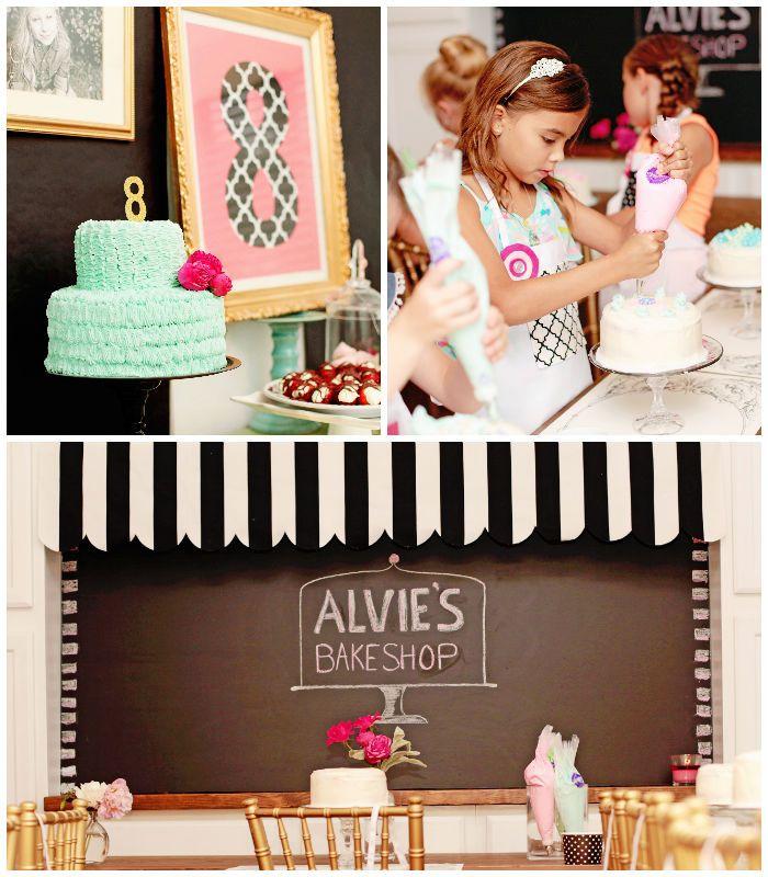Vintage Bake Shop 8th birthday party via Kara's Party Ideas KarasPartyIdeas.com Printables, cake, invitation, decor, cupcakes, etc! #bakingp...