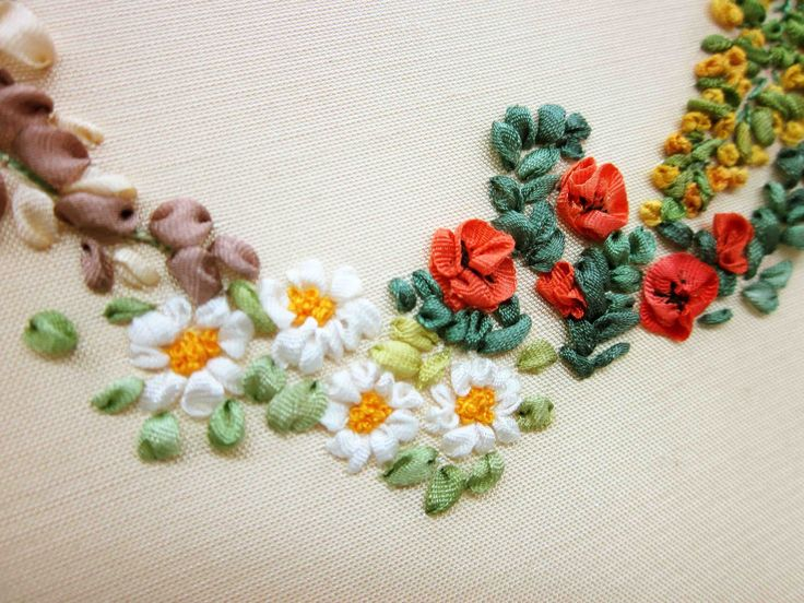 Tour Embroidery Ribbon Garland Online Tutorial Lesson 3 of 8: Daisy